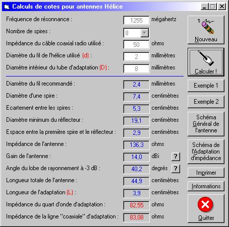 Calculs pour antenne hélice
